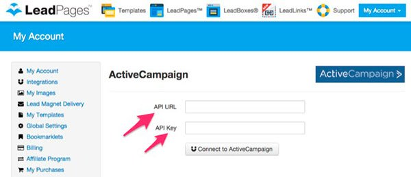 LeadPages setup screen for the ActiveCampaign API information