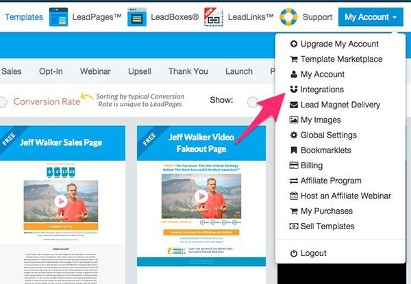 LeadPages account integrations